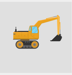 yellow excavator on white background vector image vector image