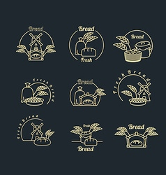 Bakery logo set Pastry logo Bread and baguette vector image vector image