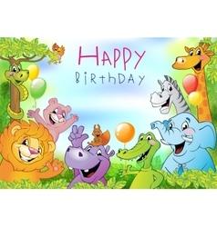 Cartoon animals Birthday greeting card vector image vector image