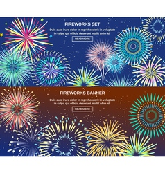 Exploding Of Fireworks Horizontal Banners vector image