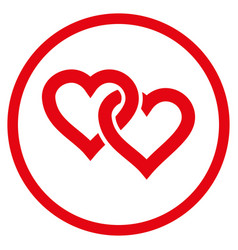 linked hearts rounded icon vector image