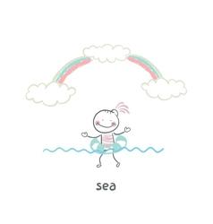 Swim in the sea vector image