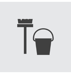 Bucket and mop icon vector image vector image