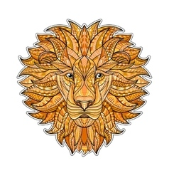 Detailed colored Lion in aztec style Patterned vector image vector image