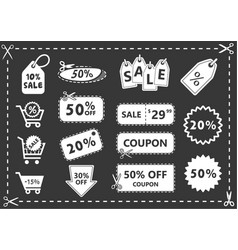 discount icons set shopping and discount coupons vector image