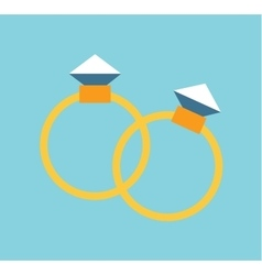 Wedding golden rings isolated on background vector image