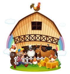 A farm with farm animals vector