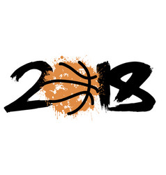 abstract number 2018 and basketball vector image