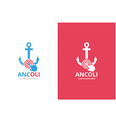 anchor and click logo combination marine vector image
