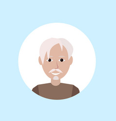 Asian old man face happy portrait on blue vector