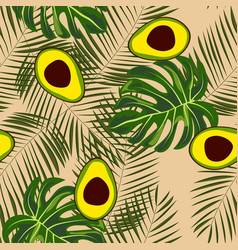 avocado and tropical leaves seamless pattern vector image