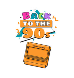 Back to the 90s poster template with tv game vector