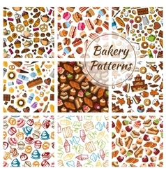 Bakery bread pastry patisserie sweets patterns vector