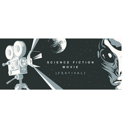 banner for science fiction movie festival vector image