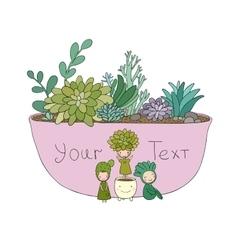 Beautiful succulents in pot Little fairy vector