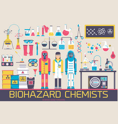 biohazard chemists in chemistry lab vector image