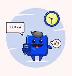 Blue square authoritative male teacher vector