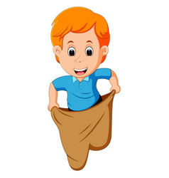 Boy playing jumping sack race vector
