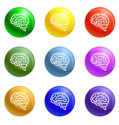 brain icons set vector image