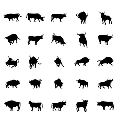 Bull silhouettes set vector