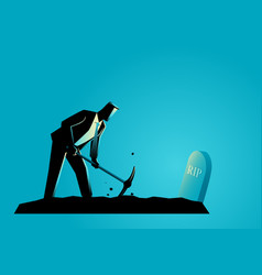 Businessman digging his own grave vector