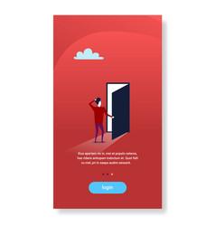 Businessman standing open door new opportunity vector