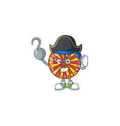 Calm one hand pirate wheel fortune wearing hat vector