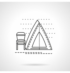 Camping tent flat line icon vector image