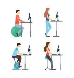 cartoon characters people standing desk set vector image