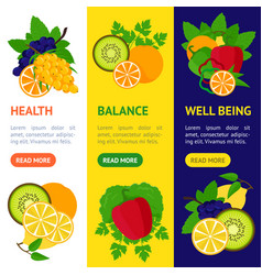 Cartoon food with vitamin c banner vecrtical set vector