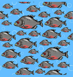Cartoon piranha fish swimming seamless pattern on vector
