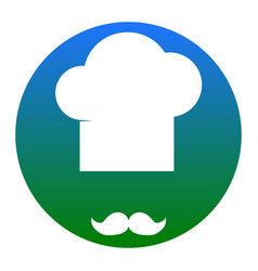 chef hat and moustache sign white icon in vector image