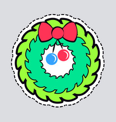 christmas green wreath with red bow and ribbon vector image