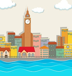 City view with clock tower and buildings vector