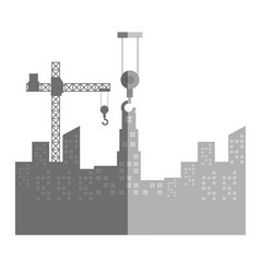 Cityscape with construction crane isolated icon vector