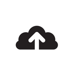 Cloud upload - black icon on white background vector