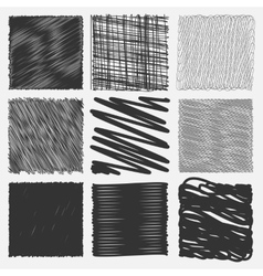 Collection of backgrounds with linear doodles vector