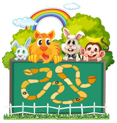 Cute animals board game template vector