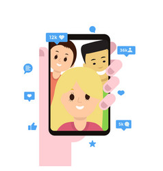 display of smartphone with open social media app vector image