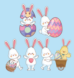 easter day animals and eggs vector image