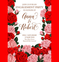 Engagement invitation card of roses flowers vector
