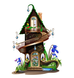 fairytale wooden house vector image