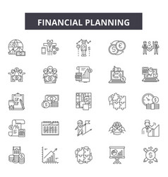 financial planning line icons signs set vector image