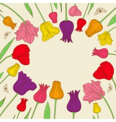floral banner with colorful tulips vector image
