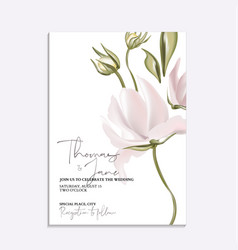 Floral tender soft magnolia wedding invitation vector