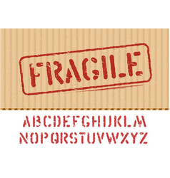 Fragile sign on cargo grunge cardboard box vector