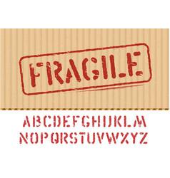 fragile sign on cargo grunge cardboard box vector image