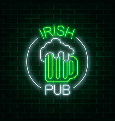 Glowing neon irish pub signboard in circle frame vector