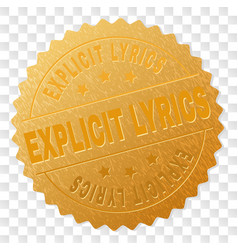 Golden explicit lyrics medallion stamp vector