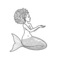 Graphic mermaid isolated on white background vector